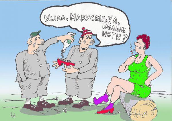 Карикатура: Мыла,Марусенька,белые ноги?, Николай Кинчаров