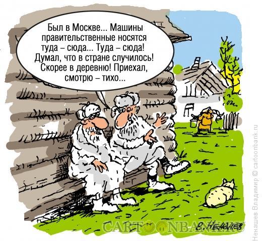 Карикатура: старики на завалинке, Ненашев Владимир