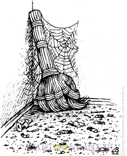 Карикатура: Забастовка веника, Дубинин Валентин