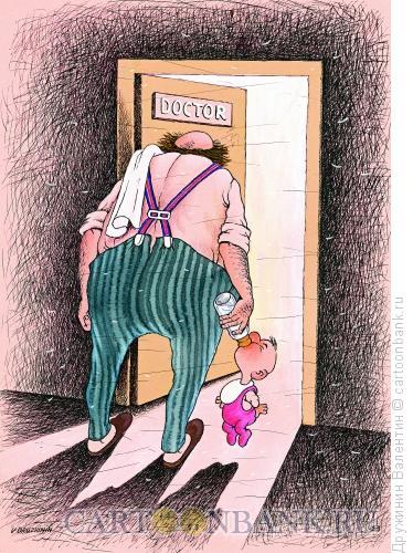 Карикатура: За соску, Дружинин Валентин