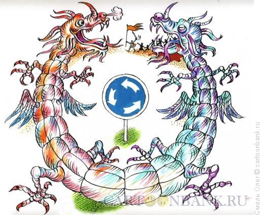 Карикатура: Есть у революции начало... (цветной вариант), Смаль Олег