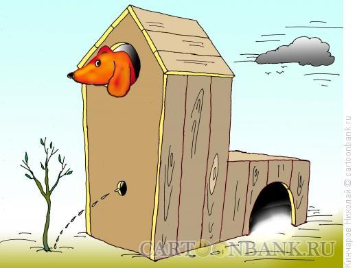 Карикатура: Домик для охотничьей таксы, Кинчаров Николай