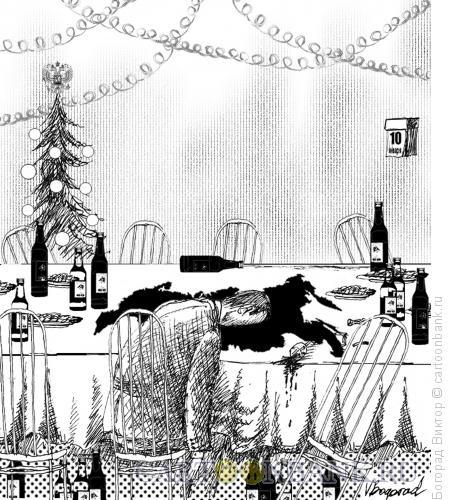 Карикатура: Новогодние каникулы в России, Богорад Виктор