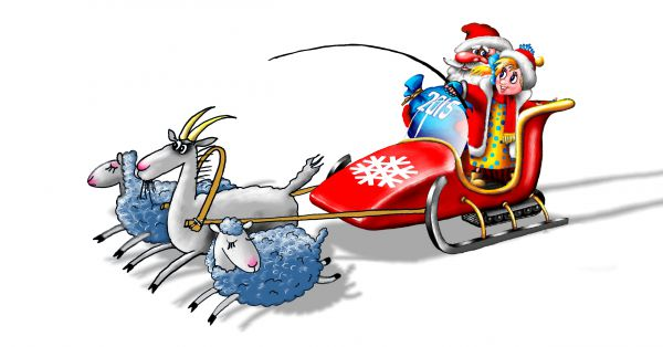 Карикатура: Дед мороз, Александр Ануфриев