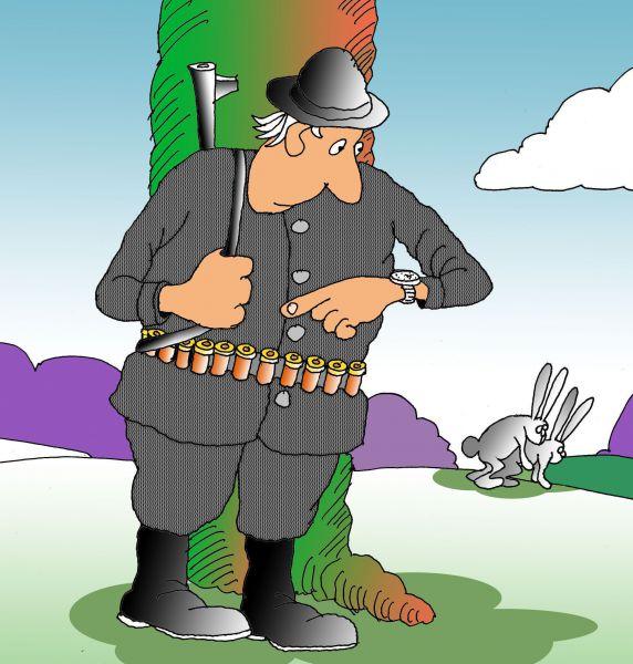Карикатура: Охотник с пониманием, Николай Кинчаров