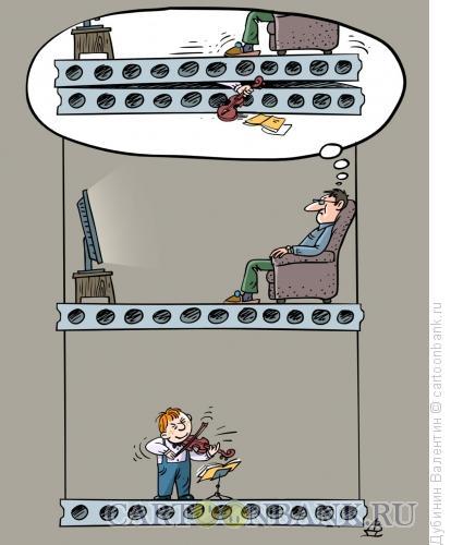 Карикатура: Скрипичные фантазии, Дубинин Валентин