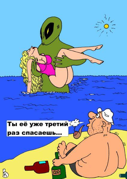 Карикатура: Бухающий отдыхающий, Валерий Каненков