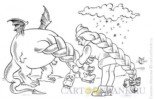 Карикатура: Новогодняя косичка, Смагин Максим