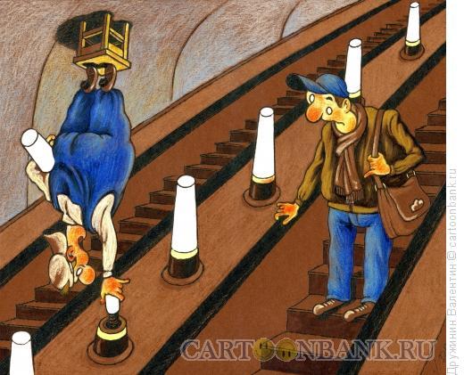 Карикатура: Электрик в метро, Дружинин Валентин