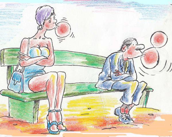 Карикатура: Мысли мужчины о празднике, Николай Кинчаров