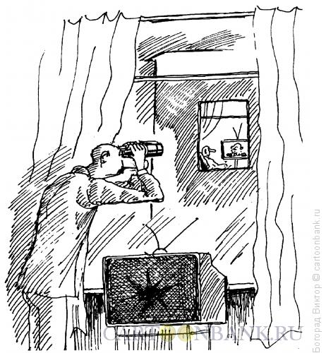 Карикатура: Телезритель с биноклем, Богорад Виктор