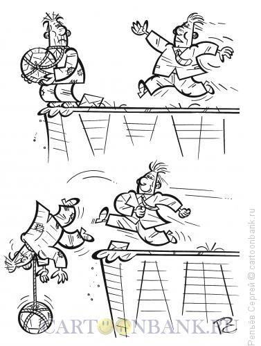 Карикатура: Неожиданная помощь, Репьёв Сергей