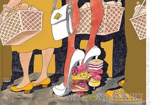 Карикатура: ТОВАР на ШПИЛЬКАХ, Дружинин Валентин