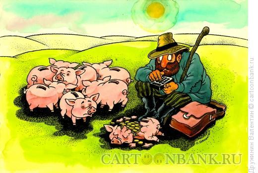 Карикатура: Пастух, Дружинин Валентин