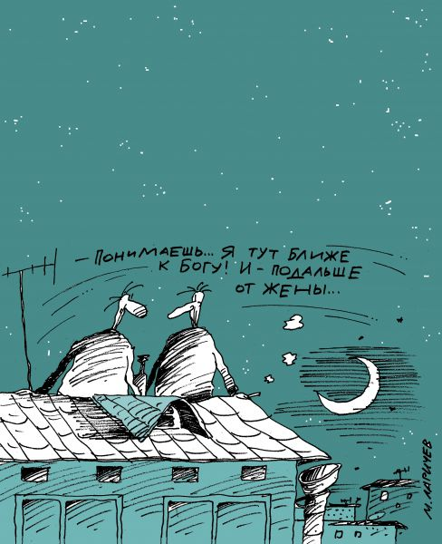 Карикатура: крыша, михаил ларичев