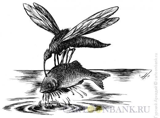 Карикатура: комар с рыбой, Гурский Аркадий