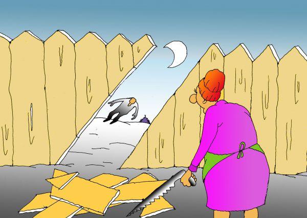 Карикатура: Чтобы мужу было удобней, Николай Кинчаров