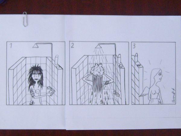 Карикатура: Девушка в душе, Петров Александр