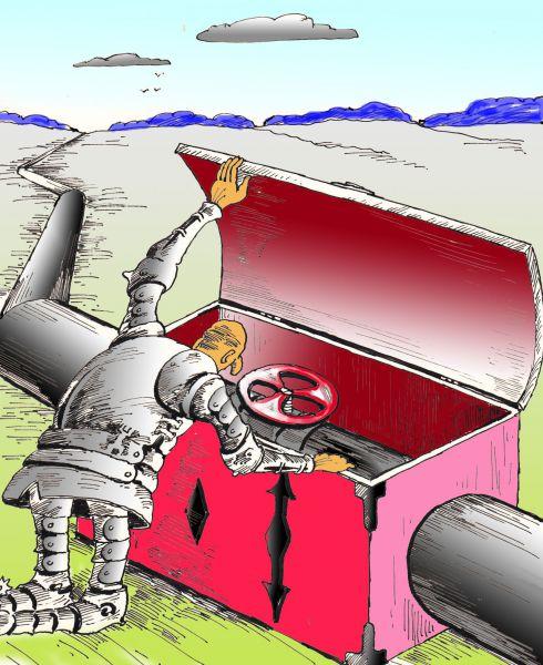 Карикатура: Труба как сокровищница, Николай Кинчаров