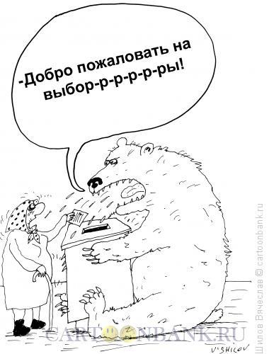 Карикатура: Бабушка и медведь, Шилов Вячеслав