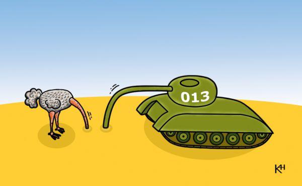 Карикатура: Страус и танк, Александр Кузнецов