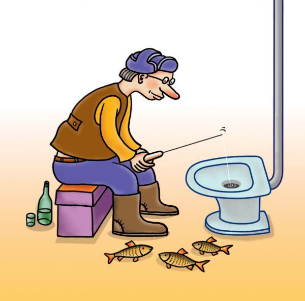 Карикатура: Заядлый рыбак, Александр Кузнецов
