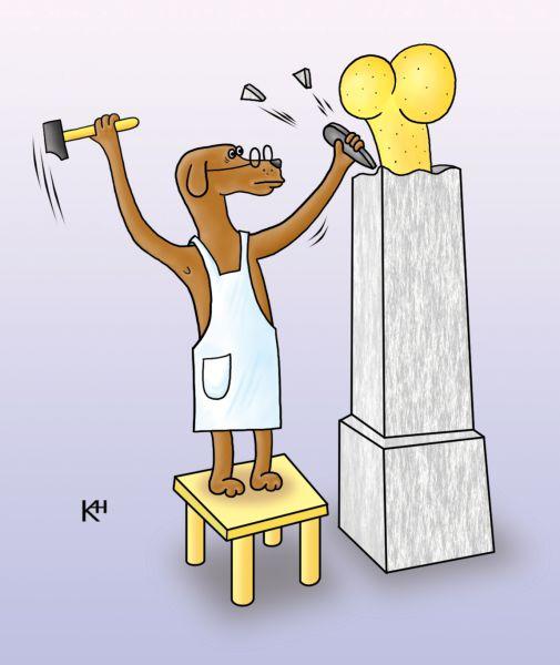 Карикатура: Пес скульптор, Александр Кузнецов