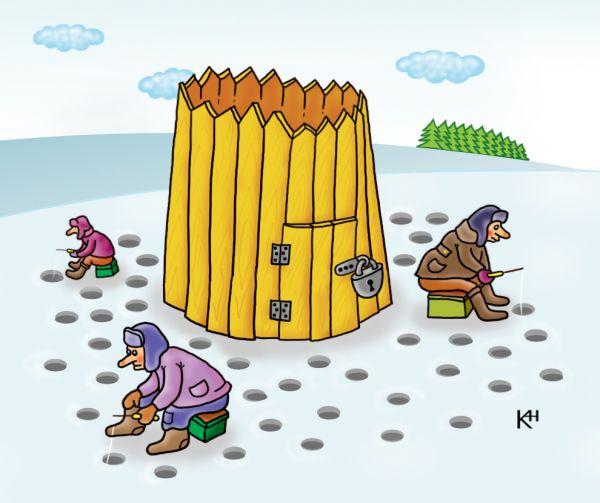 Карикатура: Клёвое место, Александр Кузнецов