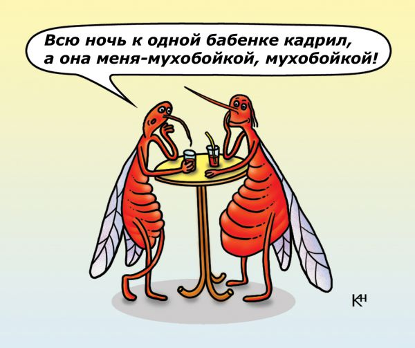 Карикатура: комар жалуется, karbazit