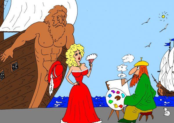 Карикатура: У моря, Валерий Каненков