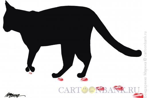 Карикатура: кошка и следы-поцелуи, Бондаренко Марина
