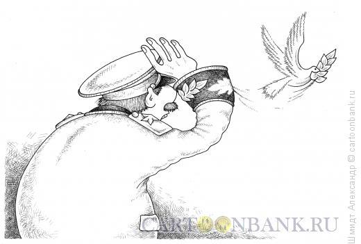 Карикатура: Голубь мира (ч/б), Шмидт Александр
