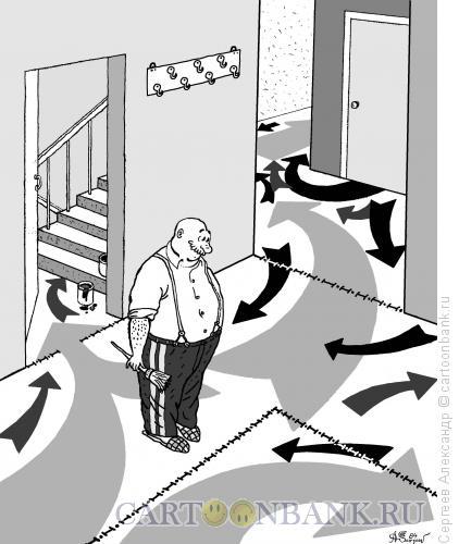 Карикатура: Генерал на пенсии ч/б, Сергеев Александр