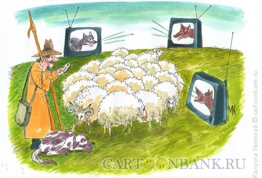 Карикатура: Пастух-рационализатор, Капуста Николай