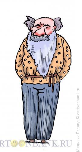Карикатура: Толстой, Лев Николаевич, Мельник Леонид