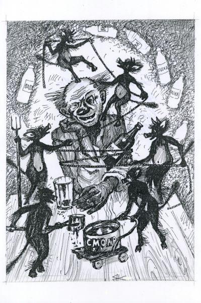 Карикатура: Белая горячка., Василий Куричев