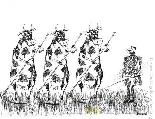 Карикатура: Коровы с косами и дрессировщик, Богорад Виктор