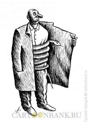 Карикатура: змея в пальто, Гурский Аркадий
