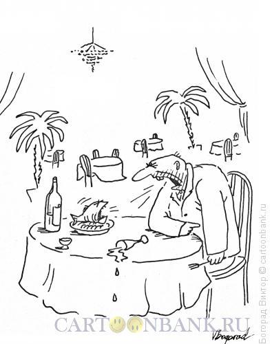 Карикатура: Спор с рыбой в ресторане, Богорад Виктор
