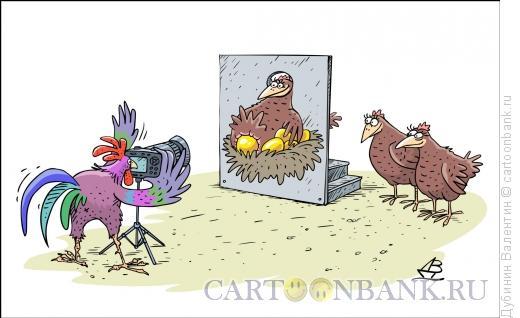 Карикатура: Золотая мечта каждой курицы, Дубинин Валентин