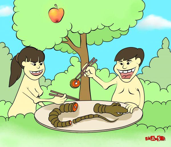 Карикатура: Если бы Адам и Ева были китайцами., Игорь Иманский