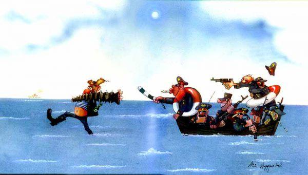 Карикатура: Море по колено, Ануфриев