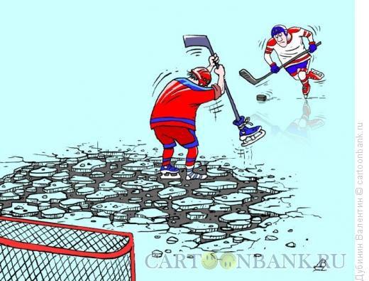 Карикатура: Вратарь в отчаянии, Дубинин Валентин