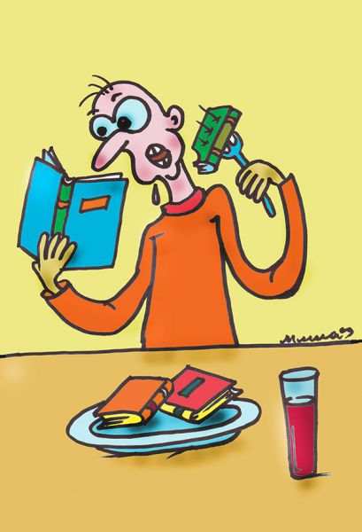 Карикатура: Чтобы заполнить пустоту внутри себя, нужно читать книги, а не жрать, Михаил Федорович Чернышев