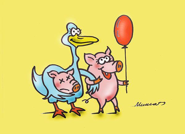 Карикатура: Я такой гусь, что всем свиньямтоварищ, Михаил Федорович Чернышев