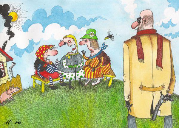 Карикатура: Бабки травят байки, Юрий Наместников