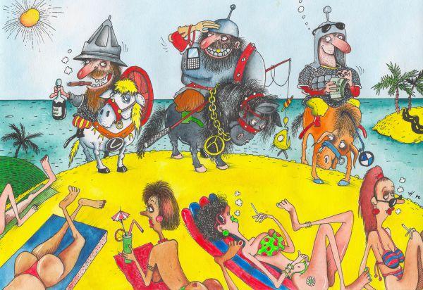 Карикатура: Три богатыря на пляже, Юрий Наместников