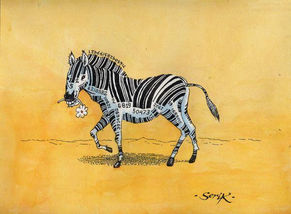 Карикатура: Отцифрованная зебра, Кир Непьющий