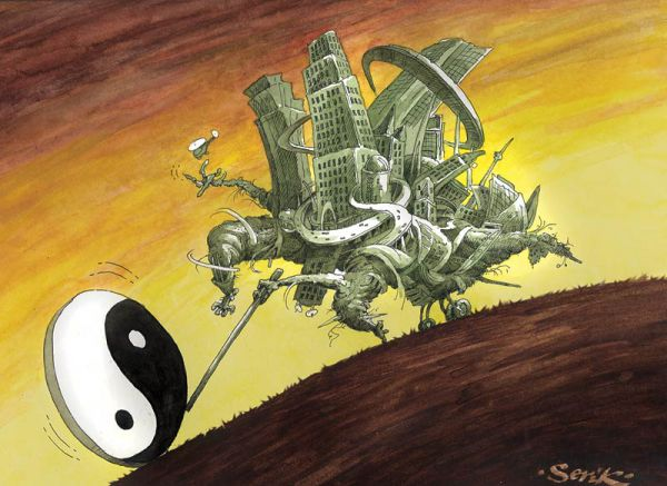 Карикатура: Урбанизация, Кир Непьющий