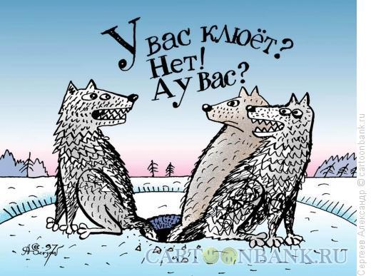 Карикатура: Зимняя рыбалка, Сергеев Александр